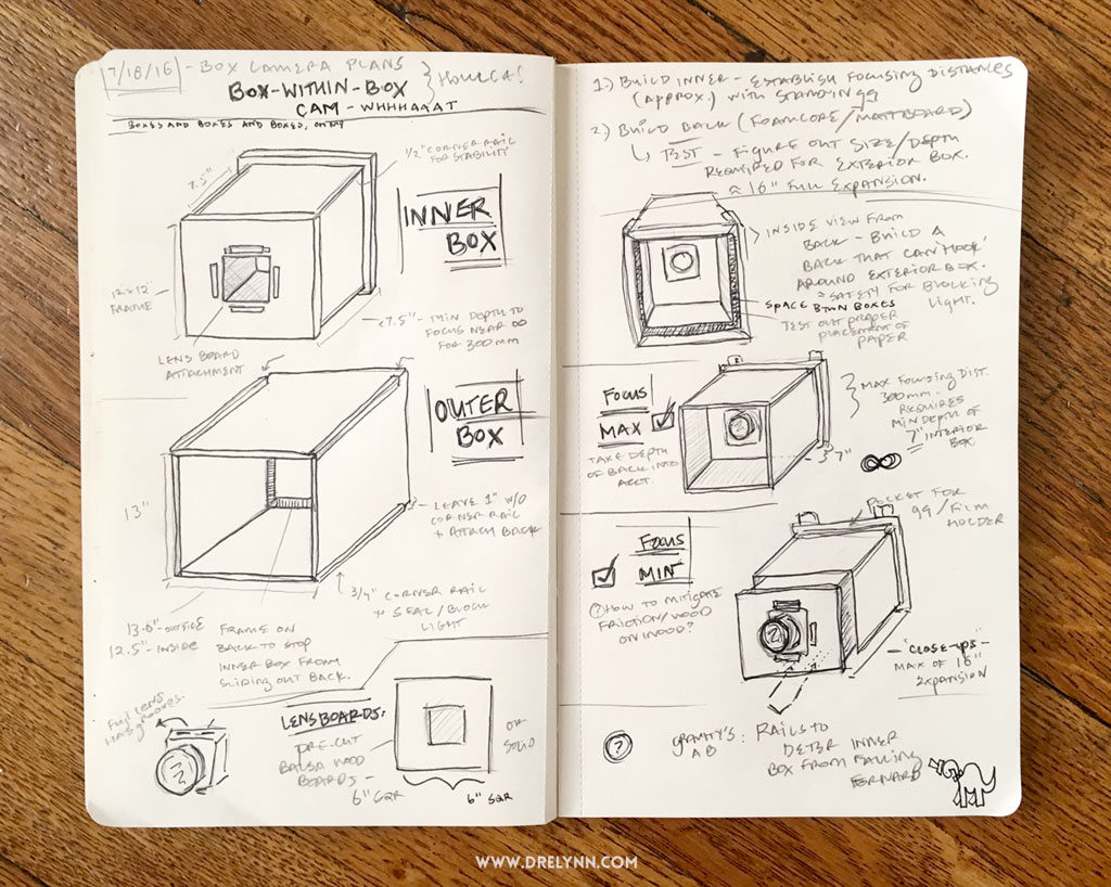 DIY 8x10 Paper Negative Box Camera Plans / ©Dre L Hudson 2016, All Rights Reserved