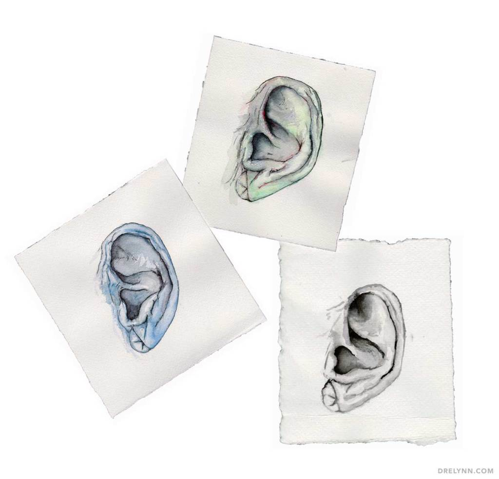 Funky Watercolor Paintings of Ears // DL Hudson 2014, All Rights Reserved
